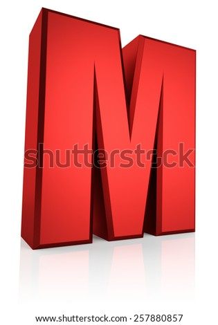 3d rendering red letter M isolated on white background  - stock photo