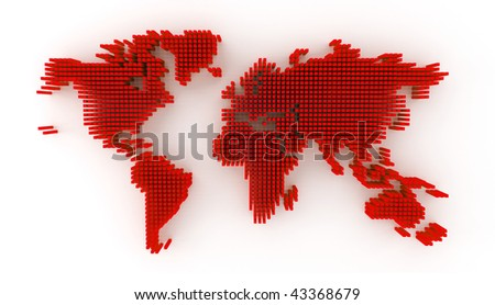 3d rendering showing red 3d blocks forming a world map - stock photo