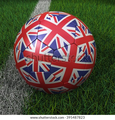3D rendering soccer ball with UK flag on green field. - stock photo