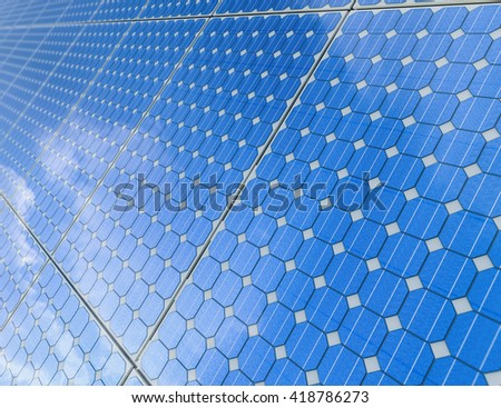3d rendering solar panel background - stock photo