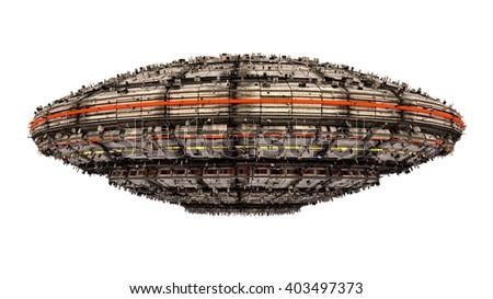 3D rendering. Spaceship UFO alien - stock photo