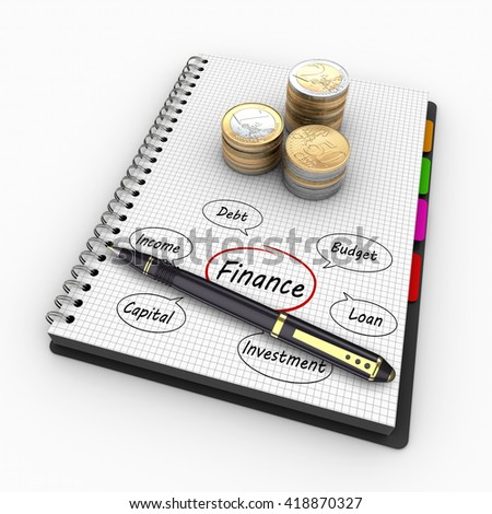 3D rendering spiral notebook with euro coins. Banking, loans, mortgages, debts, investments, financing. - stock photo