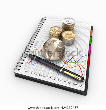 3D rendering spiral notebook with US coins. Banking, loans, mortgages, debts, finance, return on investment.  - stock photo