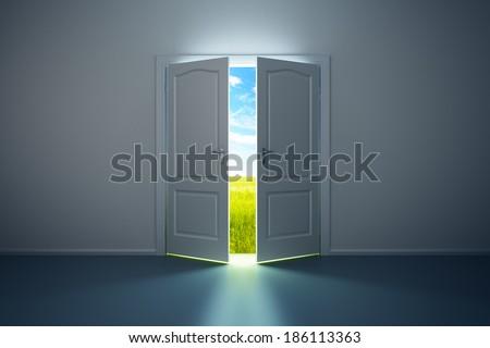 3d rendering the empty room with opened door - stock photo