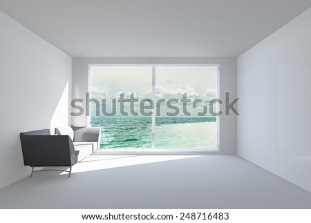 3D rendering.  The empty white room with a sofa, with a big window and a view of the ocean. - stock photo