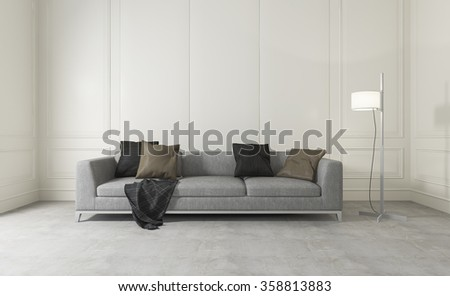 3d rendering white clean room with comfortable sofa  - stock photo