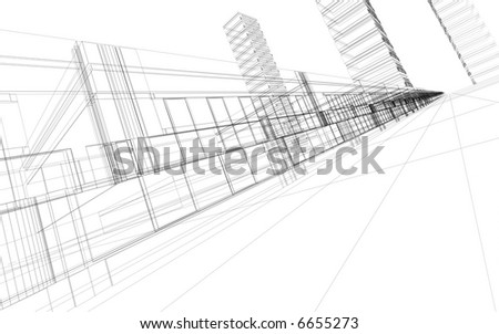 3D rendering wire-frame of office buildings. Concept - modern architecture and designing. - stock photo