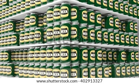 3D rendering with closeup on supermarket shelves with beer cans. - stock photo