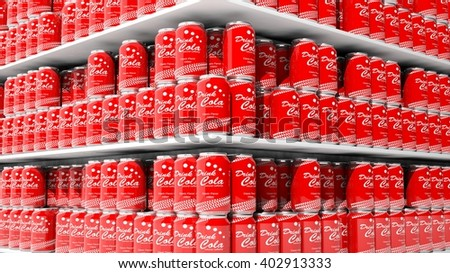 3D rendering with closeup on supermarket shelves with cola cans. - stock photo