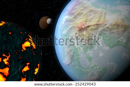 3D rendering with 1 Earth like planet in deep space with orbiting brown moon, one ice moon and one creating moon - stock photo