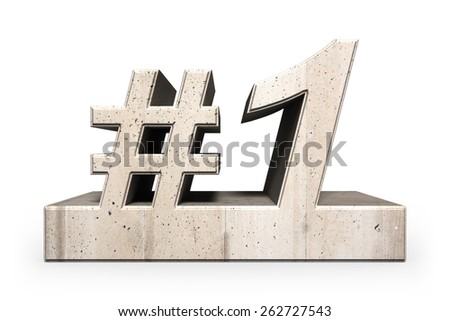 """3D rendering with stone texture of the """"#1""""  / Number 1 - stock photo"""