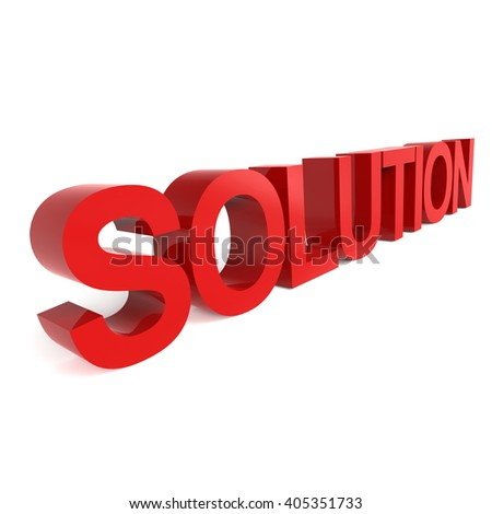 3D rendering word - SOLUTION isolated on white background - stock photo