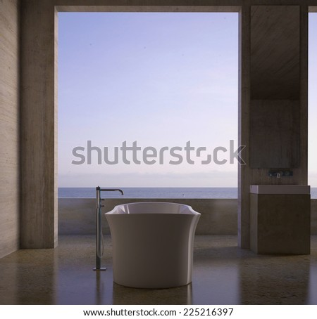 3D renderings. Bathroom interior - stock photo