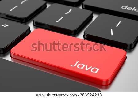 3d renderion of computer programming coding keyboard concept. Red Enter button with machine code language Java - stock photo