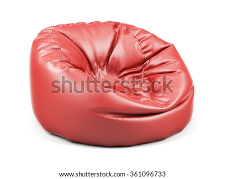 3d renderion of red soft leather beanbag isolated on white background - stock photo