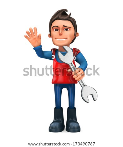 3d repairman with wrench - isolated - stock photo