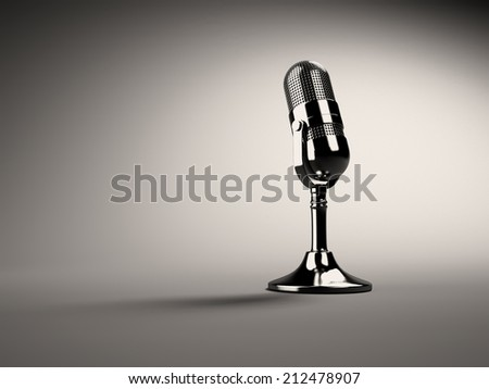 3d Retro microphone - stock photo