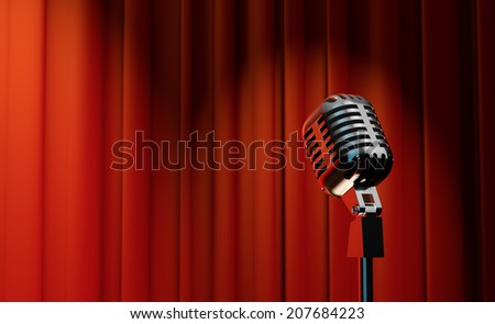 3d retro microphone on red royal curtain background  - stock photo