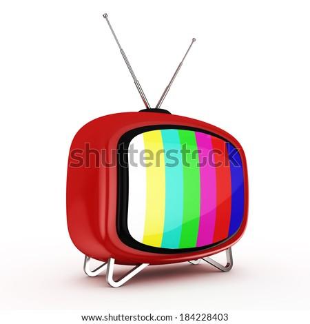 3d Retro TV Perspective - isolated - stock photo
