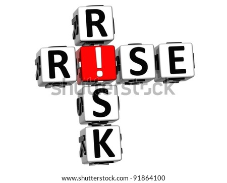 3D Rise Risk Crossword on white background - stock photo