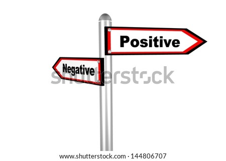 3d road sign of text Negative & Positive - stock photo
