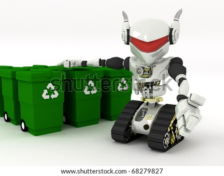 3d robot and  recycle bins - stock photo