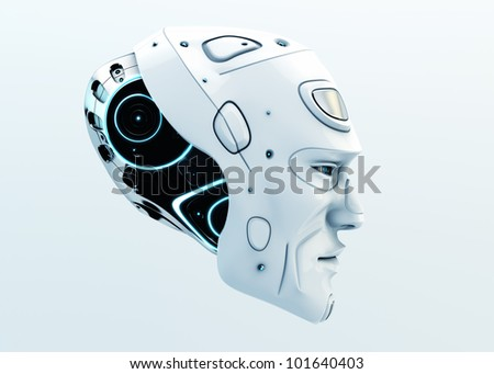 3d Robot head isolated on white / Stylish serious man's head in profile - stock photo