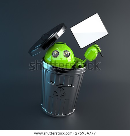 3d Robot inside trash bin. Electronic recycle concept - stock photo