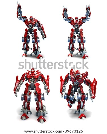3d robot Transformer isolated on white background - stock photo