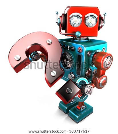3D robot with question mark. Isolated on white.  - stock photo