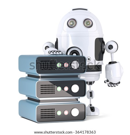 3d Robot with Server rack. Technology concept. Isolated over white. Contains clipping path - stock photo