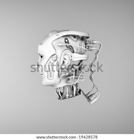 3d robotic heads  with Connections to the mind - stock photo