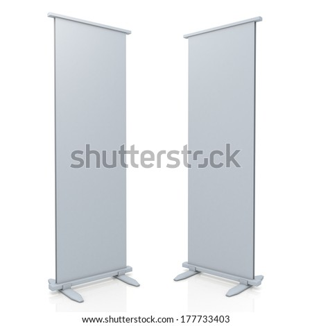 3d roll stand display and base in isolated background with work paths, clipping paths included  - stock photo