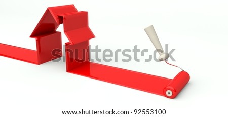 3d roller and red paint, symbol of building a house - stock photo