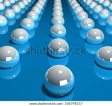 3d rolling balls on blue - stock photo