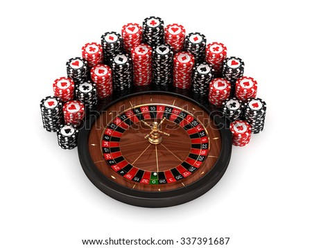 3D roulette with pocker chips on white background - stock photo