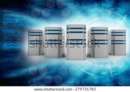 3d row of server racks - stock photo