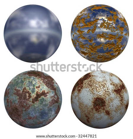 3d rusted steel spheres set or collection  isolated on white,ideal for 3D symbols, web buttons or logo designs - stock photo