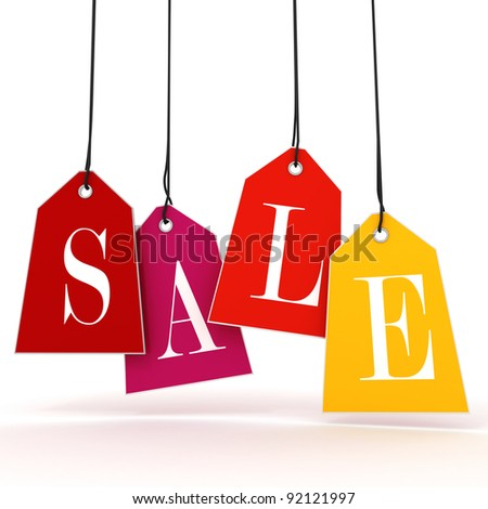 3d Sale text, on white background - stock photo