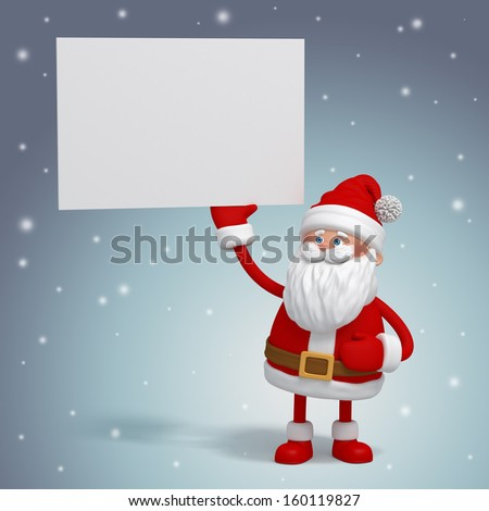 3d Santa Claus holding white card, place your text - stock photo