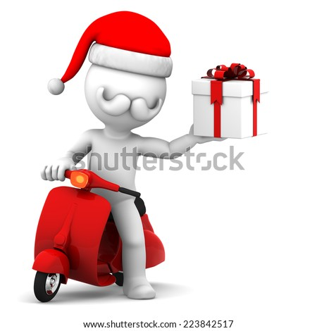 3d Santa Claus on scooter holding gift box - stock photo