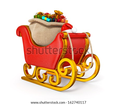 3d santa claus sleigh with gift sack isolated - stock photo