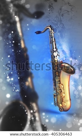 3d saxophone on music notes background - stock photo