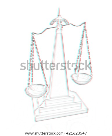 3d scale. Pencil drawing. 3D illustration. Anaglyph. View with red/cyan glasses to see in 3D. - stock photo