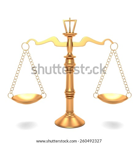 3d scales Golden Justice - stock photo