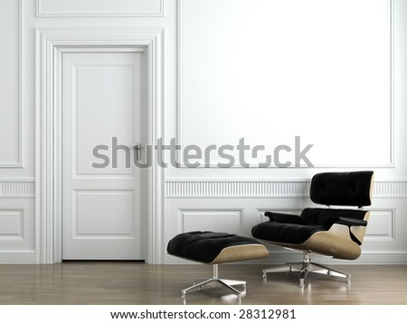 3d scene of leather armchair on white classic interior wall - stock photo