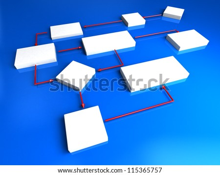 3d scheme with blocks and arrows - stock photo