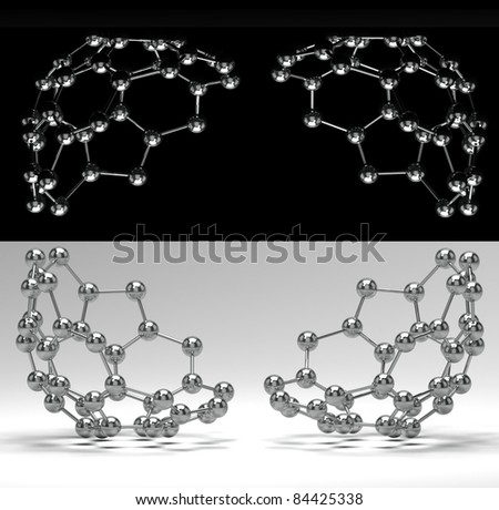 3D scientific card with shiny molecules on black and white - stock photo