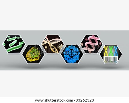 3D scientific illustration with molecular structures and bacteria - stock photo