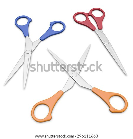 3D scissors isolated on white background - stock photo
